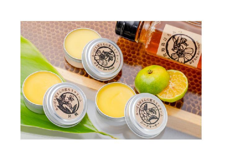 みつばち屋さんの蜜ろうクリーム プレーン&シークヮーサー&月桃 3種セット